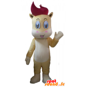 Mascot pony, colt yellow, white and red