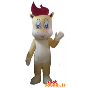 Mascotte de petit cheval, de poulain jaune, blanc et rouge