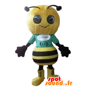 Mascotte giallo e nero ape, molto successo e sorridente - MASFR23116 - Ape mascotte