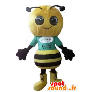 Maskottchen-gelb und schwarz Biene, sehr erfolgreich und lächelnd - MASFR23116 - Maskottchen Biene