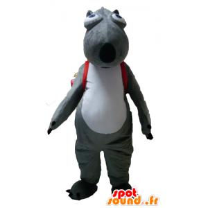 Bever mascotte, grijs en wit dier met een tas