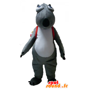 Bever maskot, grått og hvitt dyr med en ransel