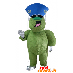 Green monster mascot, hairy and plump, cheerful - MASFR23120 - Monsters mascots