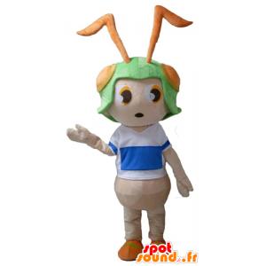 Mascotte de fourmi rose, avec un casque vert sur la tête