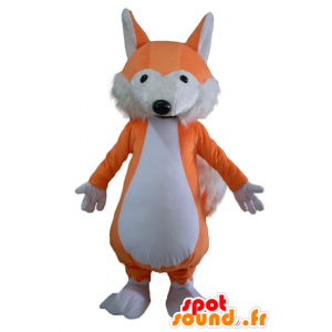 Mascot orange and white fox, soft and hairy