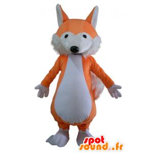 Mascot oranje en witte vos, zachte en harige