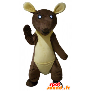 Brune og gule kenguru maskott, gigantiske