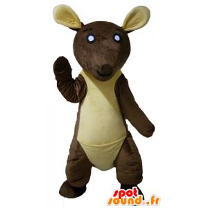 Mascotte de kangourou marron et jaune, géant