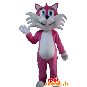 Mascot pink and white fox, cute and pretty
