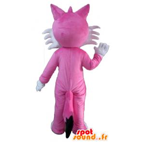 Mascot pink and white fox, cute and pretty - MASFR23128 - Mascots Fox