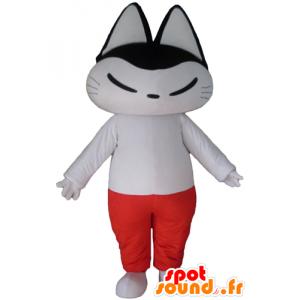 Zwart-witte kat mascotte, witte en rode outfit - MASFR23129 - Cat Mascottes