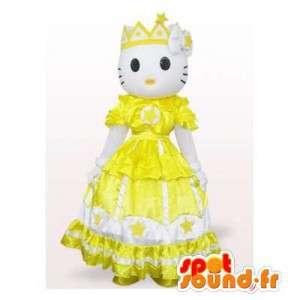 Mascote Olá Kitty vestido de princesa amarelo