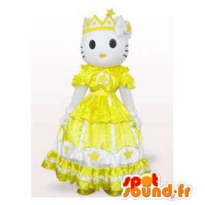 Mascotte de Hello Kitty en robe de princesse jaune