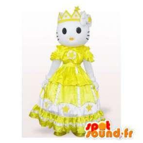 Mascotte de Hello Kitty en robe de princesse jaune - MASFR006561 - Mascottes Hello Kitty