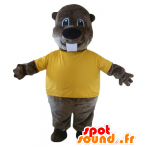 Mascot beaver brown, with a yellow t-shirt