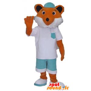 Arancione e bianco mascotte volpe, bianco e vestito verde - MASFR23135 - Mascotte Fox
