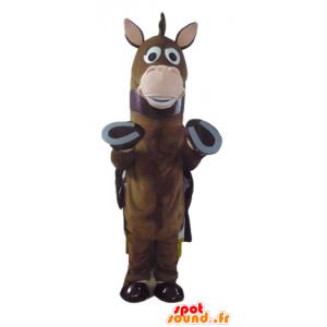 Hevonen maskotti, ruskea varsa, jossa on viitta