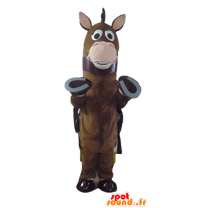Horse mascot, brown foal with a cape