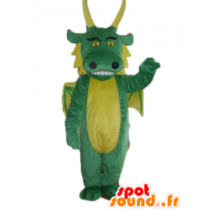 Grüne und gelbe Drachen-Maskottchen, Riesen- - MASFR23139 - Dragon-Maskottchen