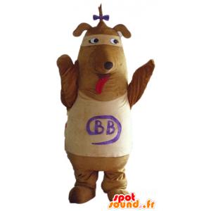 Braun und Beige Hund Maskottchen mit einem Knoten auf dem Kopf - MASFR23141 - Hund-Maskottchen