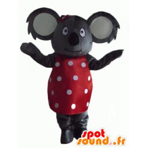 Grigio mascotte koala con un abito rosso con puntini bianchi - MASFR23147 - Mascotte Koala