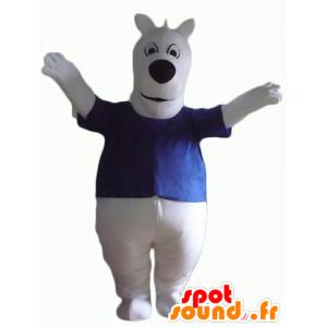Biały pies maskotka, niebieska koszula, pulchny i słodkie - MASFR23148 - dog Maskotki