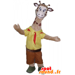 Brown giraffe mascot, dressed in yellow and red scout
