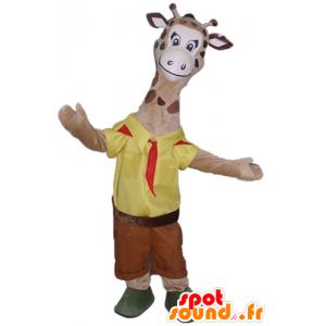 Mascot girafa castanho, vestida em batedor amarelo e vermelho