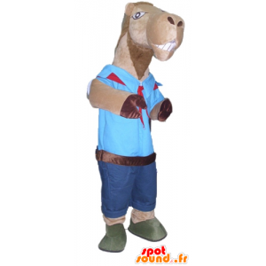Mascot brown camel, held in scout