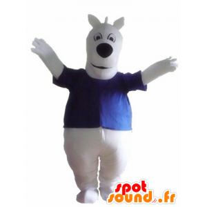Stor vit hundmaskot, med en blå t-shirt - Spotsound maskot
