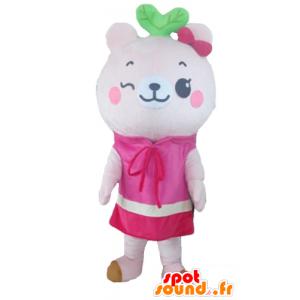 Mascot vaaleanpunainen nalle mekko - MASFR23156 - Bear Mascot