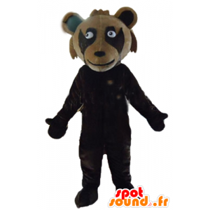 Brown teddy mascot, bicolor, giant - MASFR23158 - Bear mascot