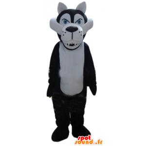 Mascot hvit og svart ulv, hard - MASFR23160 - Wolf Maskoter