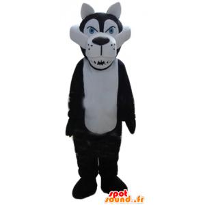 Mascotte bianco e nero lupo, il feroce - MASFR23160 - Mascotte lupo