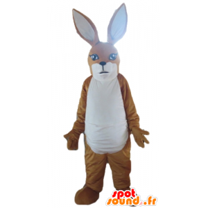 Bruine en witte kangoeroe mascotte, konijn