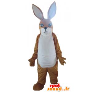 Mascotte de kangourou marron et blanc, de lapin