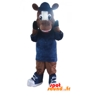 Horse mascot, brown and white foal - MASFR23166 - Mascots horse
