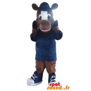 Mascotte cavallo, marrone e bianco puledro - MASFR23166 - Cavallo mascotte