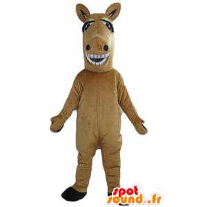 Marrone mascotte e cavallo bianco, gigante e sorridente - MASFR23167 - Cavallo mascotte