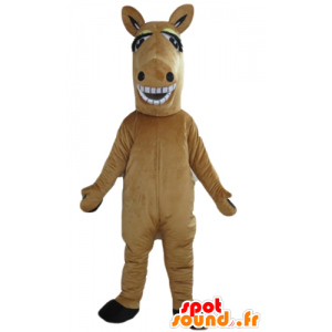 Mascot brown and white horse, giant and smiling - MASFR23167 - Mascots horse