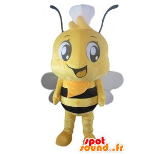 Mascot abeja amarillo y negro con un sombrero en la cabeza - MASFR23171 - Abeja de mascotas