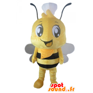 Mascot yellow and black bee with a hat on his head - MASFR23171 - Mascots bee
