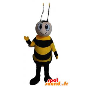 Mascot abeja de color amarillo y negro, sonriendo - MASFR23174 - Abeja de mascotas