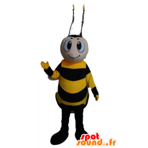 Mascot yellow and black bee, smiling - MASFR23174 - Mascots bee