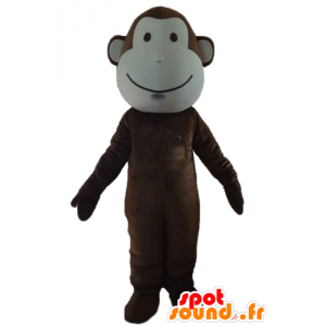 Brown and white monkey mascot, very cute - MASFR23179 - Mascots monkey