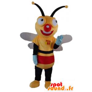 Amarillo mascota de abeja, negro y rojo, muy alegre - MASFR23184 - Abeja de mascotas