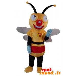 Yellow bee mascot, black and red, very cheerful - MASFR23184 - Mascots bee
