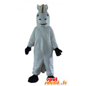 Einhorn-Maskottchen, weiß und schwarz Pferd - MASFR23188 - Maskottchen-Pferd