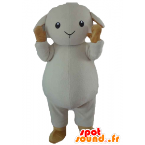 Mascot schaap, witte lam en bruine