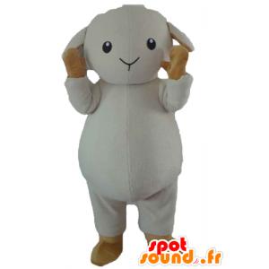 Mascotte de mouton, d'agneau blanc et marron